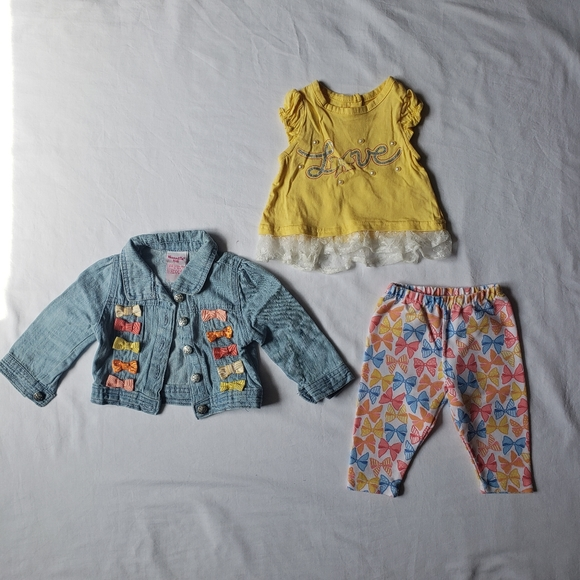 Nannette Baby Girl 18M Denim Jacket, Tee, Pant Set